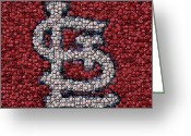Cardinals World Series Greeting Cards - St. Louis Cardinals Bottle Cap Mosaic Greeting Card by Paul Van Scott