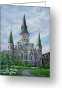 Cafe Greeting Cards - St. Louis Cathedral Greeting Card by Dianne Parks