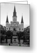 Travelpixpro Greeting Cards - St Louis Cathedral on Jackson Square in the French Quarter New Orleans Black and White Greeting Card by Shawn OBrien