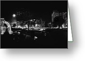 Cities Glass Art Greeting Cards - St. Louis City Garden Night BW for Glass Greeting Card by David Coblitz