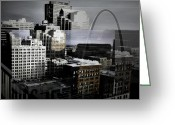 Merged Greeting Cards - St. Louis in Layer Greeting Card by Deborah Shultis