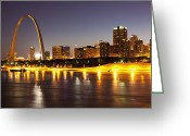 Mississippi River Scene Greeting Cards - St Louis Skyline Greeting Card by Bryan Mullennix