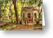 Montreal Summer Scenes Greeting Cards - St Louis Square St Denis Street Greeting Card by Carole Spandau