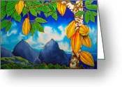 Silk Art Greeting Cards - St. Lucia Cocoa Greeting Card by Daniel Jean-Baptiste