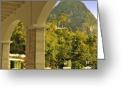 Cindy Longhini Greeting Cards - St. Lucia Mountain View Greeting Card by Cindy Lee Longhini