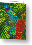 St. Lucia Parrot Greeting Cards - St. Lucias Bird of Paradise Greeting Card by Daniel Jean-Baptiste