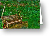 Greenwich Greeting Cards - St. Luke in the Field Garden Bench Greeting Card by Randy Aveille