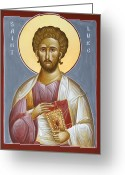 Saint Luke The Evangelist Greeting Cards - St Luke the Evangelist Greeting Card by Julia Bridget Hayes