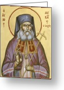 Byzantine Icon Greeting Cards - St Luke the Surgeon of Simferopol Greeting Card by Julia Bridget Hayes