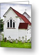 Graveyard Greeting Cards - St. Lukes Church and cemetery in Placentia Greeting Card by Elena Elisseeva