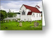 Ancient Tomb Greeting Cards - St. Lukes Church in Placentia Newfoundland Greeting Card by Elena Elisseeva