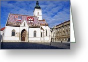 St Marc Greeting Cards - St Marco Zagreb Croatia Greeting Card by Dubravko Grakalic
