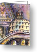 Italy Drawings Greeting Cards - St Marks of Venice Greeting Card by Mindy Newman