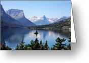 Harsh Greeting Cards - St Mary Lake - Glacier National Park MT Greeting Card by Christine Till