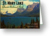 Montana Digital Art Greeting Cards - St. Mary Lake Glacier National Park Greeting Card by Vintage Poster Designs