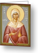 Egg Tempera Greeting Cards - St Mary Magdalene Greeting Card by Julia Bridget Hayes