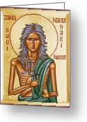 Byzantine Icon Greeting Cards - St Mary of Egypt  Greeting Card by Julia Bridget Hayes