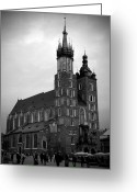 Old Krakow Greeting Cards - St. Marys Basilica BW Greeting Card by Kamil Swiatek