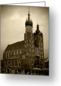 Old Krakow Greeting Cards - St. Marys Basilica Greeting Card by Kamil Swiatek