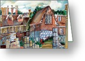 Glass Drawings Greeting Cards - St Marys of York England Greeting Card by Mindy Newman