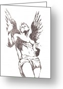 Protector Drawings Greeting Cards - St Michael Archangel Greeting Card by Roberto Macedo Alves