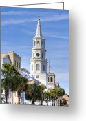 Historic Greeting Cards - St Michaels Church Charleston SC 3 Greeting Card by Dustin K Ryan