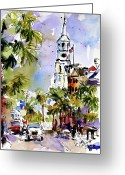 Cities Art Painting Greeting Cards - St Michaels Church Charleston South Carolina Greeting Card by Ginette Fine Art LLC Ginette Callaway