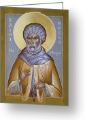 St Moses The Ethiopian Greeting Cards - St Moses the Ethiopian Greeting Card by Julia Bridget Hayes