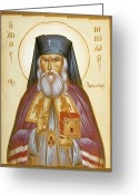 Byzantine Icon Greeting Cards - St Nicholas of Japan Greeting Card by Julia Bridget Hayes