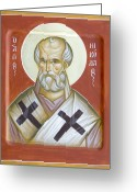 Byzantine Icon Greeting Cards - St Nicholas of Myra Greeting Card by Julia Bridget Hayes