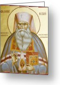 Byzantine Icon Greeting Cards - St Nicholas the Confessor of Alma Ata and Kazakhstan Greeting Card by Julia Bridget Hayes
