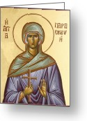 Byzantine Icon Greeting Cards - St Paraskevi Greeting Card by Julia Bridget Hayes