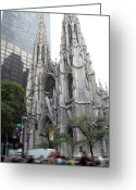 Hustle Bustle Greeting Cards - St Patricks Cathedral - Manhattan Greeting Card by Frank Mari