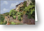 Guido Tapestries Textiles Greeting Cards - St Paul de Vence Greeting Card by Guido Borelli