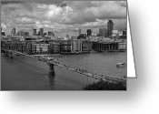 Recession Greeting Cards - St Pauls and the City panorama BW Greeting Card by Gary Eason