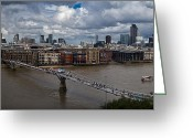 Recession Greeting Cards - St Pauls and the City panorama Greeting Card by Gary Eason