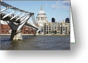 Paul Photo Greeting Cards - St Pauls Cathedral And Millennium Bridge Greeting Card by Richard Newstead