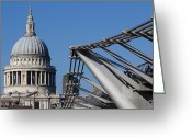Wren Greeting Cards - St Pauls Cathedral and the Millenium Bridge  Greeting Card by David Pyatt