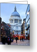Twilight Greeting Cards - St. Pauls Cathedral at dusk Greeting Card by Elena Elisseeva