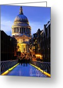 Nighttime Greeting Cards - St. Pauls Cathedral from Millennium Bridge Greeting Card by Elena Elisseeva