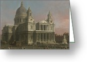 Wren Greeting Cards - St. Pauls Cathedral Greeting Card by Giovanni Antonio Canaletto