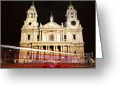 Red Door Greeting Cards - St. Pauls Cathedral in London at night Greeting Card by Elena Elisseeva