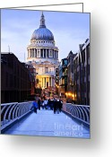 Historic Street Greeting Cards - St. Pauls Cathedral London at dusk Greeting Card by Elena Elisseeva