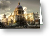Wren Greeting Cards - St Pauls Cathedral Greeting Card by Rob Hawkins