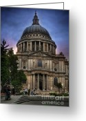 Sunset Framed Prints Greeting Cards - St Pauls Cathedral Greeting Card by Yhun Suarez