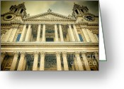 Building Detail Greeting Cards - St Pauls Standing Greeting Card by Joan Carroll