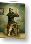 Catholic Painting Greeting Cards - St Peregrine Greeting Card by Cecilia  Brendel