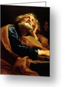 Biblical Greeting Cards - St Peter Greeting Card by Pompeo Girolamo Batoni