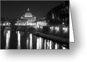 Dome Greeting Cards - St. Peters at Night Greeting Card by Donna Corless