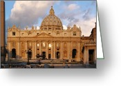 Religion Photo Greeting Cards - St. Peters Basilica Greeting Card by Adam Romanowicz